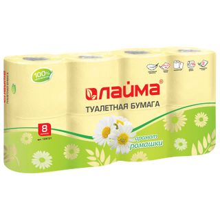 LIME / Toilet paper for household use, spike 8 pcs., 2-ply (8x19 m), chamomile aroma