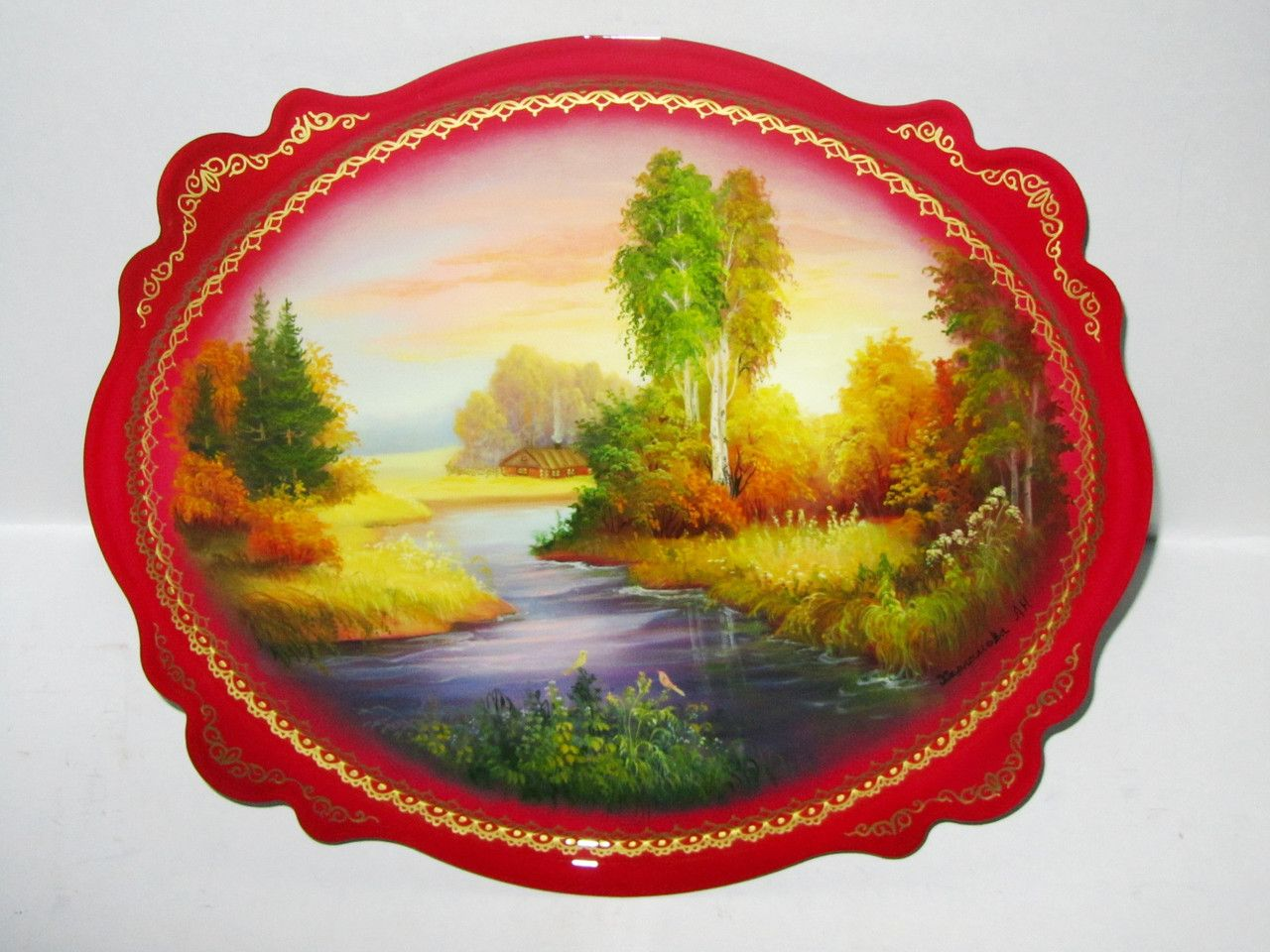 """Souvenirs from N. Tagil / Tray """"Subject painting. Autumn gold"""", 30x25 cm"""