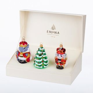 """A set of Christmas tree decorations """"Musical fairy tale"""" in a gift box"""