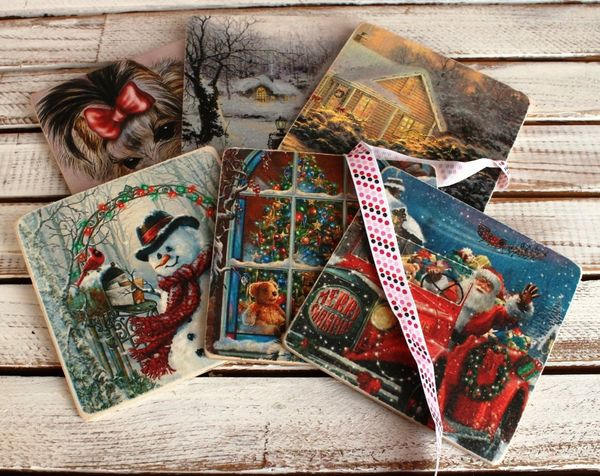 A set of coasters under hot Christmas