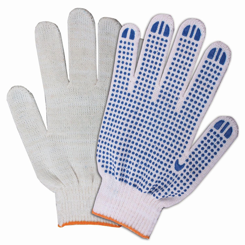 LIMA BUDGET / Cotton gloves, SET 200 pairs, grade 10, 32-34 g, 83 tex, PVC dot, WHITE