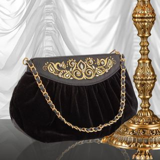 "Velvet bag ""Lady's Caprice"" in black with gold embroidery"