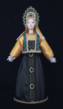 Doll gift porcelain. The North Of Russia. Girl in birthday suit.