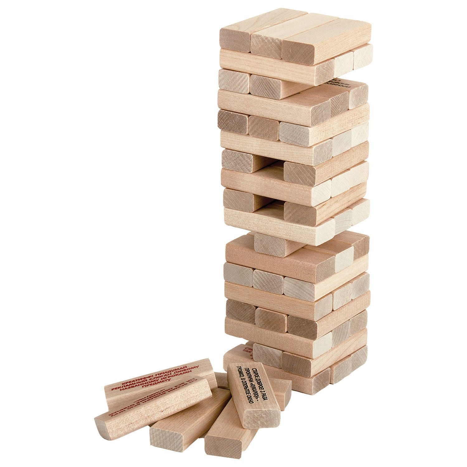 """Game table tower """"Bam-boom"""", unpainted wooden blocks with tasks, 10 KINGDOM"""