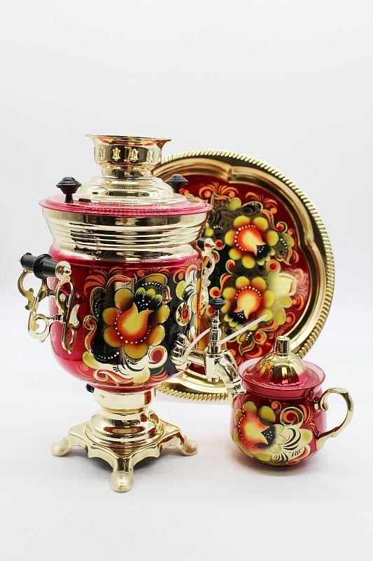 "Dulevo porcelain / Electric samovar 3 l. ""Kudrina"" in the set"