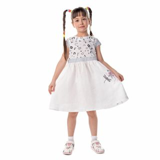 "Baby dress ""lovely garden"" white with silk embroidery"