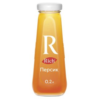 RICH / Peach nectar, glass bottle 0.2 l