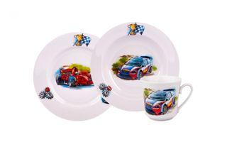 Dulevo porcelain / A set of dishes 3 ave.Machines (t. 200 mm chalk, bowl 300, mug 250 ml Dawn)