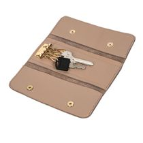 Leather key holder 'Rainbow mood' brown with gold embroidery