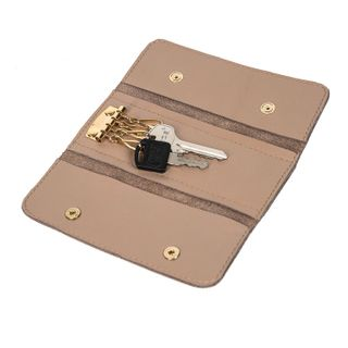 "Leather key holder ""Rainbow mood"" brown with gold embroidery"