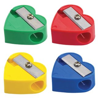Sharpener PYTHAGORAS, without container, plastic, assorted, heart