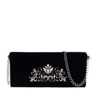 Compliment velvet clutch black silver
