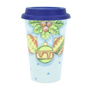Author's coffee Cup with silicone lid No. 26 color Christmas balls, Gzhel Porcelain factory