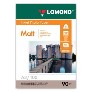 Photo paper for inkjet printing LARGE FORMAT, A3, 90 g/m2, 100 sheets, one-sided matte, LOMOND