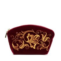 Velvet cosmetic bag 'Romance' bordeaux