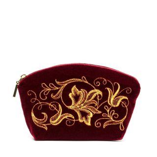 "Velvet cosmetic bag ""Romance"" bordeaux"