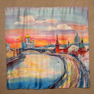 """Silk scarf """"Moscow river"""""""