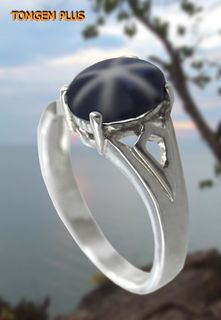 Silver ring 925 with star sapphire 6x8 mm