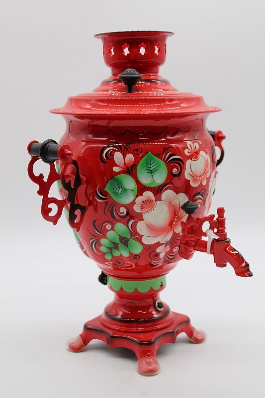 "Dulevo porcelain / Electric samovar 3 l. ""Flowers on red"" with auto off."