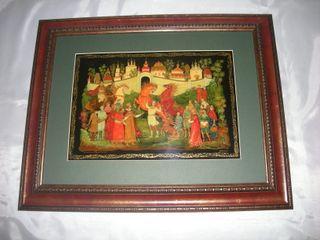 Palekh lacquer miniature. Panel
