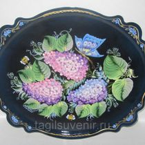 "Metal tray ""Baroque oval"" 250x300 mm - exclusive painting on metal"