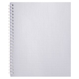 Bburvinil notebook, A5, 96 sheets, comb, offset No1, cage, WHITE Metallic, HATBER