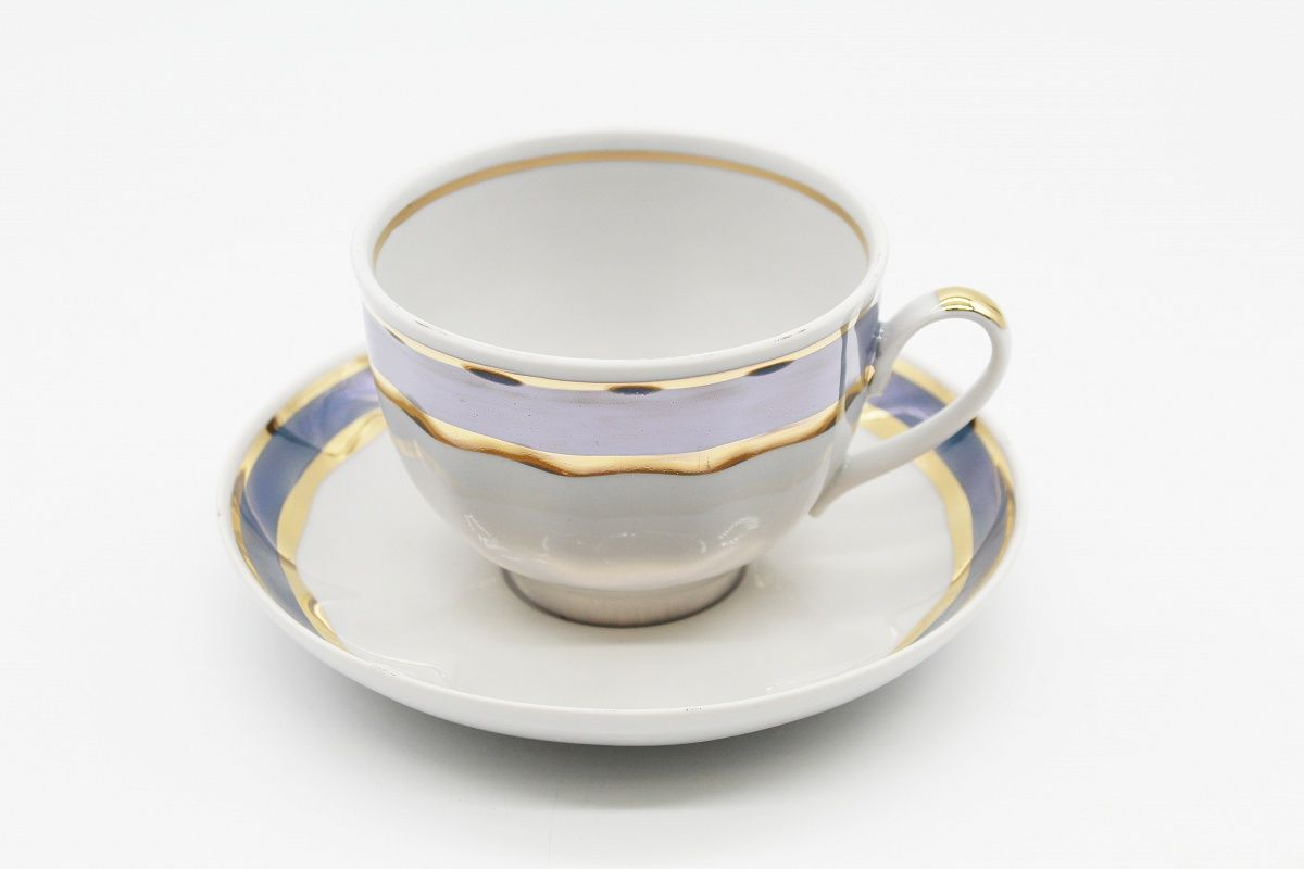 Dulevo porcelain / Tea cup and saucer set, 12 pcs., 275 ml Pomegranate Sea breeze