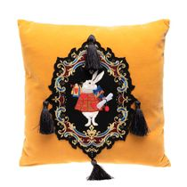 Pillow cushion, Rabbit with yellow gold embroidery