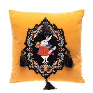 Pillow cushion, Rabbit, Torzhok seamstresses, mustard