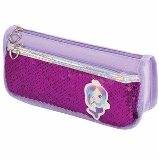 Pencil case-cosmetic bag INLANDIA, 2 branches, soft, sequined, mermaid, purple, 21х6х9 cm