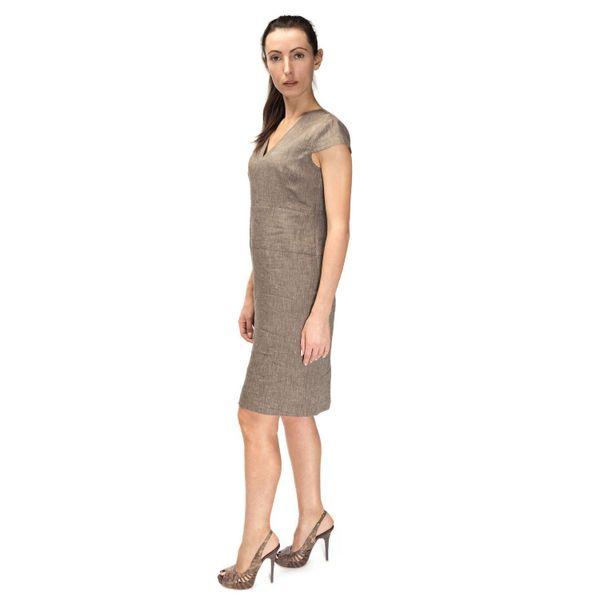 Dress women 'deion' beige with silk embroidery