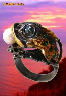 Fish 0111 - ring in silver 925 coated with black rhodium