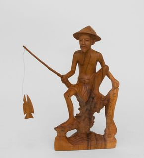 "Wooden figurine ""Fisherman"" 30 cm"