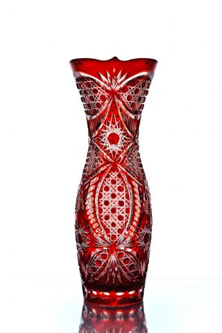 "Crystal vase for flowers ""Valeria"" red"