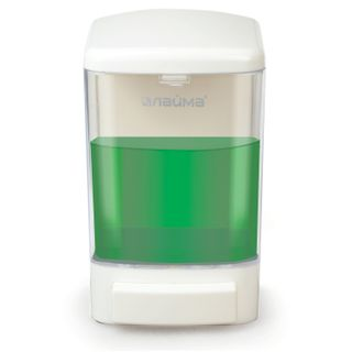 Dispenser for liquid soap of LIME, liquid, 1 liter, ABS plastic, white