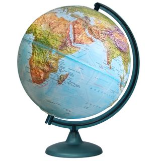 Geographical relief globe with a diameter of 320 mm