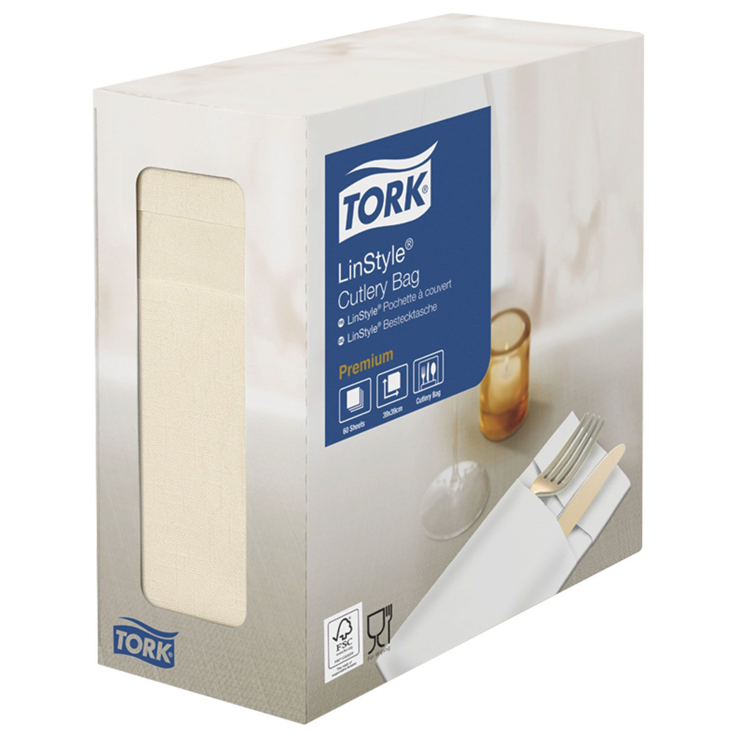 "TORK / Non-woven cream envelopes for cutlery ""LinStyle Premium"", 39x39 cm, 60 pcs."