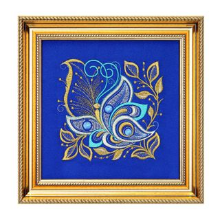 "Mural ""Butterfly"" blue with gold embroidery"