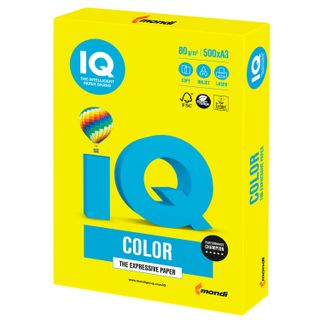 Paper I'color BIG FORMAT (297 x420 mm), A3, 80 g/m2, 500 sheets, neon, yellow