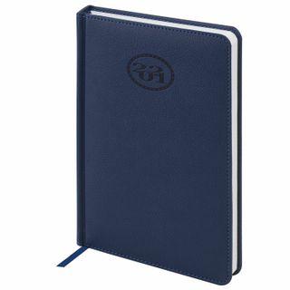 Calendar 2021 (138х213мм), A5, BRAUBERG Favorite, leatherette, dark blue
