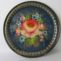 "Metal tray round ""Flowers. Individual plot"" 170 mm - exclusive painting on metal"
