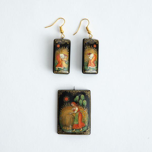 Palekh / Set of earrings and pendant, master Kuzmenko