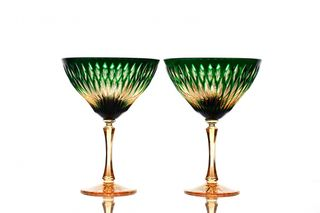 "A set of crystal glasses for champagne ""Ivan Kupala"" amber-green 2 pieces"