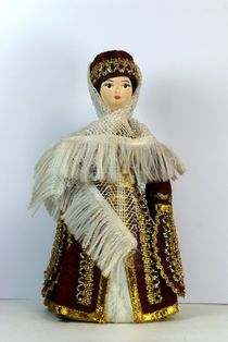 Doll gift porcelain. Kabardian maiden costume. The beginning of the 19th century.
