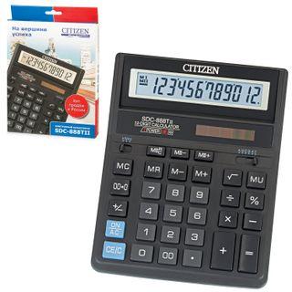 Desktop calculator CITIZEN SDC-888TII (203х158 mm), 12 digits, dual power supply