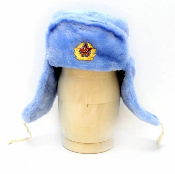 Matryoshka Factory / Blue ushanka hat with cockade