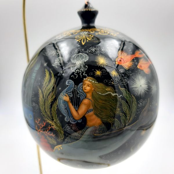 Palekh / Christmas tree ball 'Mermaids' wooden, master Bogatikova
