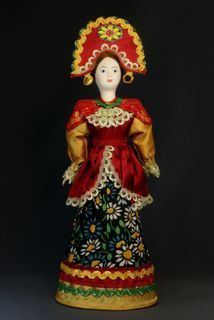 Doll gift porcelain. Russia. Maiden costume (styling).