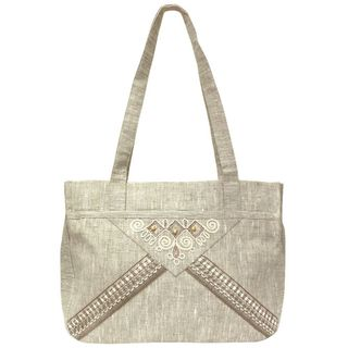 "Linen bag ""Whip"" gray with silk embroidery"