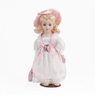 Porcelain doll Mademoiselle white dress